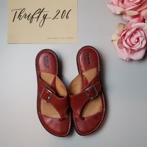 [Born] Red Leather Buckle Wedge Sandals
